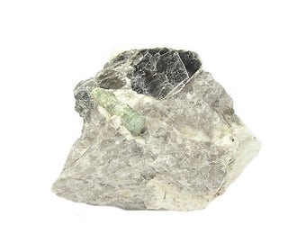 Tourmaline Green Crystal with Silvery Mica in Quartz  Microcline Rock Pegmatite Matrix from Maine Mineral Specimen from an estate collection