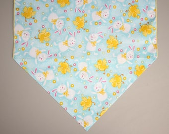 "Easter Table Runner, 36"" or 72"" Table Runner, Yellow Chicks and White Bunnies, Easter Home Decor, Easter Table"