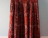 ON SALE Vintage Mulberry Paisley Print Midi Skirt / Susan Bristol Pleated Floral Print Summer Skirt  / Size 12