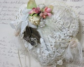 RESERVED FOR N Vintage Lace Heart, The Love Letter, Heartfelt Christmas Gift, Lace Ornament, Romantic Shabby Lace Christmas Gift, Roses