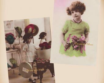Art Deco Girl - 2 New 4x6 Vintage Postcard Image Photo Prints - CD17 CD02