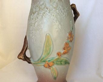Vintage Roseville Vase, Bittersweet #883-8, Gray & Mauve