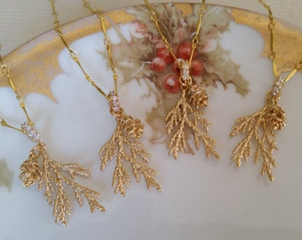 BRIDAL BRIDESMAIDS NECKLACES Matte Gold Cedar Sprigs Pine Cones Needles Bride Gift Nature Lovers Rustic Chic Winter Mountain Top Wedding