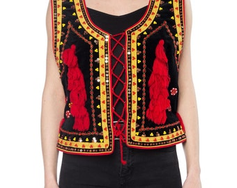 Boho Velvet Vest With Beading, Tassles, And Lacing Size: 6