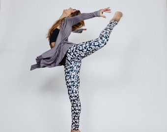 "Womens Yoga Pants - Ankle Length - Printed Yoga Leggings ""Flower Camo"" - Yoga Clothes - Activewear"