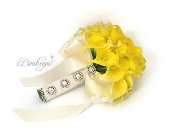 CHOOSE RIBBON COLOR - Yellow Calla Lily Bridal Bouquet, Yellow Bouquet, Yellow Real Touch Bouquet, Bling, Rhinestones, Lace, Wedding, Prom