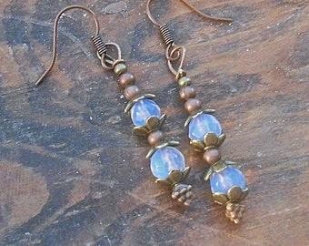 Faceted Genuine Moonstone Earrings Mixed Metals Antiqued Brass Copper Dangle Flower End Caps Victorian Vintage look Sweet Petite