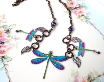 Blue dragonfly necklace, purple dragonfly necklace, brass dragonfly jewelry, hand painted brass jewelry, gift for her, bib necklace