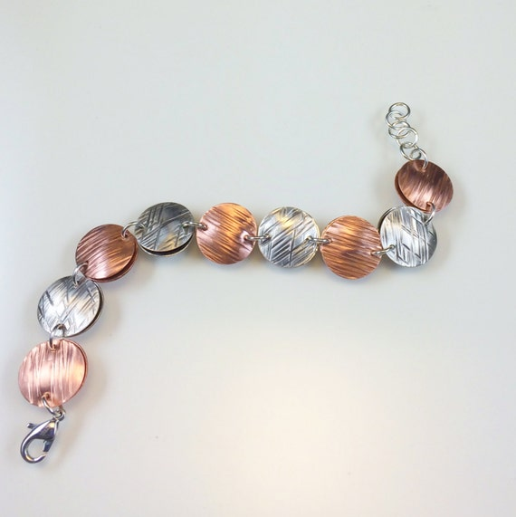 Hammered textured copper silver disc metalwork bracelet-As seen on Cedar Cove