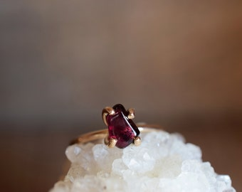 Anthill Garnet Ring. Delicate Simple Red Stone Ring. Gold Fill Garnet Jewelry. January Ring. January Birthstone. Delicate Stackable Stone