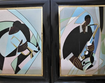 Pair of Jazz Musician Paintings Signed J Kendall Original Acrylic Cubist Paintings Framed Sax Horn Player Pastel Colors