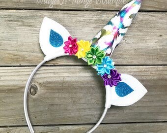 RAINBOW UNICORN HEADBAND Hair Accessory, costume, birthday, photo prop, princess, toddler, little pony dash, girls, party favor, horn, kids