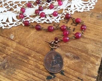 Compassionate Buddha Necklace - buddha amulet protection amulet pink agate necklace hot pink necklace
