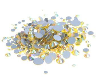 AB Lemon Yellow --  Crystal Glass Rhinestones Flatback High Quality no hotfix  Wholesale Pack Lot -- SS4-SS30 Choose your size