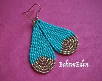 """beadweaving tutorial for eager beginners: seed bead teardrop earrings. """"metallic dip"""" look. beadwork teardrop earrings. download only."""