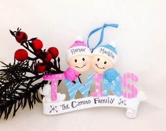 FREE SHIPPING Baby Twins First Christmas Ornament / Boy and Girl Twins / Personalized Baby Ornament / Personalized Ornament / Baby Gift