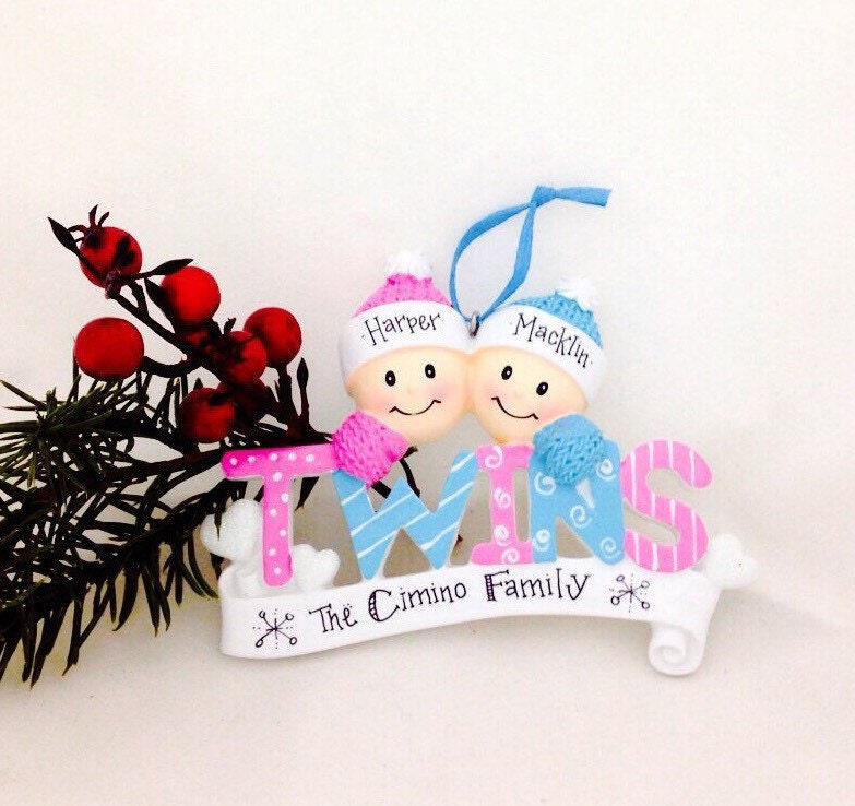 Baby Twins First Christmas Ornament / Boy and Girl Twins /