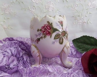 Vintage Cracked Egg Vase // Pink with Hand Painted Roses and Gold Accents