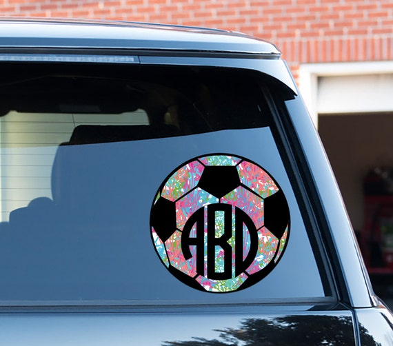 Monogram Soccer Car Decal Car Stickers Car Decor Cute Car Accessories Lilly Inspired Car Decals Monogrammed Soccer Ball Sports Soccer Mom