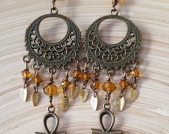 Faceted Crystals Ankh Brass Leaf Afrocentric Chandelier Earrings, Africa Earrings, Afrocentric Jewelry, Gift for women, Boho Chic,
