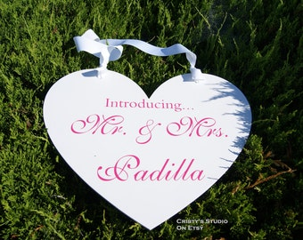 Wedding Heart Sign - Introducing Mr. & Mrs.