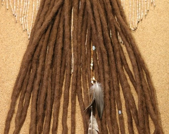 Felt Natural Dreads ( 15 Double Ended ) in Brown Alpaca Wool // Beads // Feathers // Dreads Hair Extensions // Wool Dreads