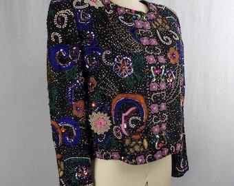 Multi-Color Beaded Vintage Trophy Jacket * Large * Lawrence Kazar