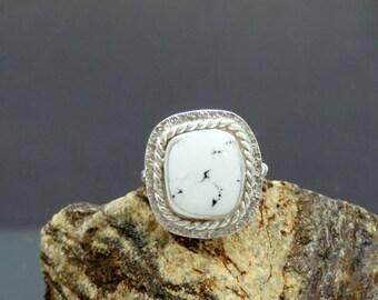White Buffalo Magnesite  Sterling Silver Ring
