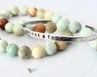 Breathe Bracelet | Skinny Cuff | Just Breathe Hand Stamped Cuff | Yoga Jewelry | Stacking Bracelet | Boho Bracelet | Meditation Bracelet