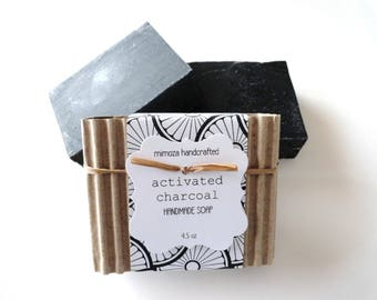 Handmade Activated Charcoal Soap, Cold Process Soap, Vegan Soap, Detox Face Soap, Unscented 4.5oz