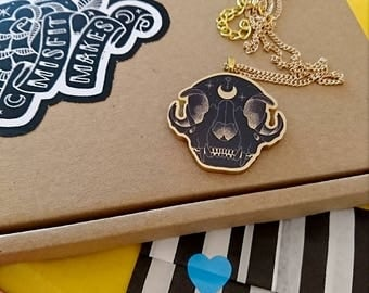 Mini Gold Cat Skull Necklace. Laser Cut Plastic Necklace with Moon and Key Symbols. Animal Skull. Cat Necklace. Occult. Goth. Punk.