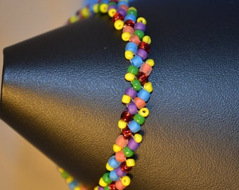 Multi Color Beaded Bracelet/Multi Color Bracelet/Beadwoven Multi Color Bracelet,Multi Color Jewelry, Rainbow Beaded Bracelet