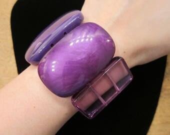 Vintage Wide Purple Opaque Transparent Shimmery Rectangles Plastic Stretch Bracelet - Plastic Jewelry Stretchy Small Medium Wrist S M