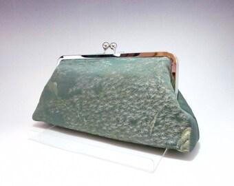 Green pine tree Clutch/Kimono purse/  Purse / Hand-made/ Vintage Kimono Obi bag/15