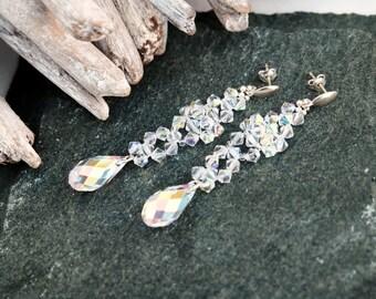 Long Sterling Silver Swarovski Crystal Earrings-Crystal AB earrings-Elegant Dangle Drop Beaded Earrings-Wedding Bridesmaids Earrings