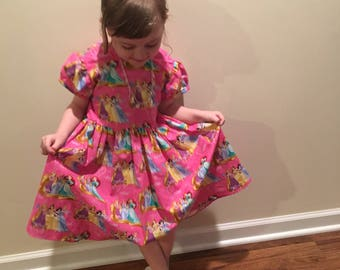 "Disney Princesses Cinderella, Belle, Snow White, Rapunzel, Ariel, Tiana ""Princesses Rule!"" // Girls Pink Dress Size 3T"