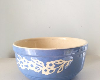 """Blue Cameo Ware 9"""" bowl, Harker Pottery, large blue and white mixing bowl"""