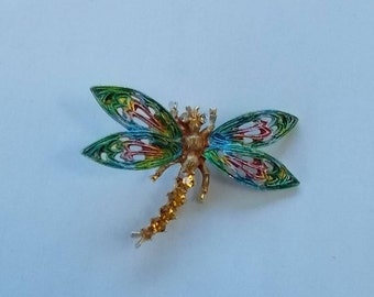 Art.  Colorful  Dragonfly Brooch.  (527)