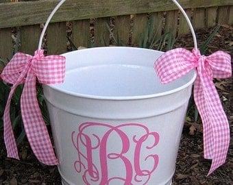 Easter Bucket- Personalized Easter Basket- Easter Bucket- Monogram Easter Basket