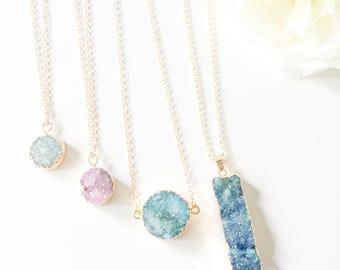 Crystal Druzy Necklace, Bohemian Pendant, Druzy Necklace, Crystal Necklace, Crystal Pendant, Druzy Pendant, Bohemian Jewellery, Festival