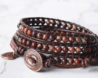 Poppy Jasper Wrap Bracelet, Red Beaded Wrap Bracelet, Boho Wrap Bracelet, Bracelet Wrap, Leather Wrapped Stone Bracelet, One of a Kind
