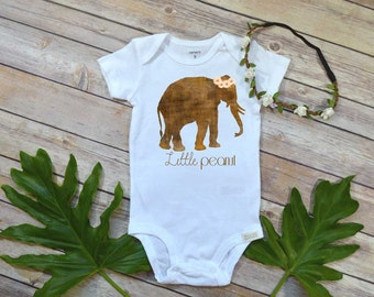Little Peanut shirt,Baby Shower Gift, Boho Baby Clothes, Newborn gift, Baby Girl Clothes, Elephant Shirt, Boho Baby Clothes, Cute Girl Set