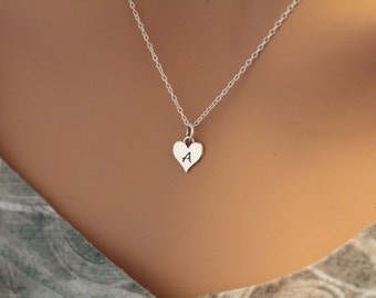 Sterling Silver A Letter Heart Necklace, Silver Tiny Stamped A Initial Heart Necklace, Stamped A Letter Charm Necklace, A Initial Necklace
