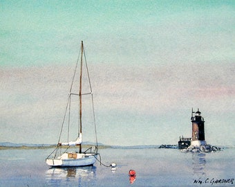 Sailing on Delaware Bay - Watercolor limited edition signed print seascape