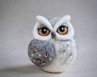 needle felted owl sculpture by The Lady Moth - grey owl - horned owl - fibre art - ready to ship - UK