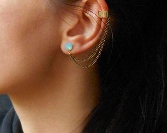 Ear Cuff Earrings, Stud Ear Cuff Earrings with Swarovski crystals,Many colors