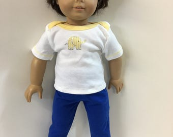 "18 inch BOY Doll Clothes, Cute Yellow/Silver ""ELEPHANT"" Top, Blue Pants, 2-Piece Outfit, 18 inch AG Boy Doll, 18"" Boy Doll Clothes, Zoo Fun!"