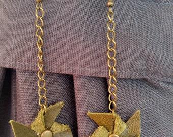 Leather pinwheel earrings
