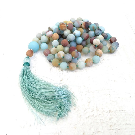 Confidence Building Mala, Amazonite Mala Necklace, Stone Yoga Meditation Beads, 108 Bead Meditation Mala, Yoga Jewelry, Mantra Beads