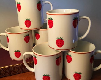 Set of six vintage ceramic mugs with strawberries made in Japan